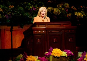 Former General Young Women's President Elaine S. Dalton speaks at the Saturday morning session of the 183rd General Conference. (Photo by Sarah Hill)
