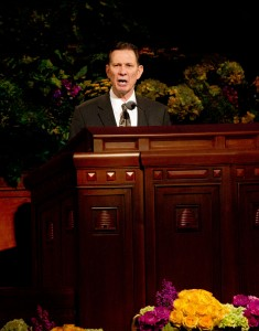 Elder Craig Cardon speaks at the Saturday morning session of the 183rd General Conference. (Photo by Sarah Hill)