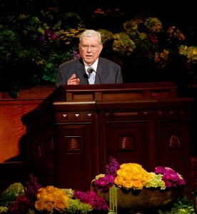 Elder M. Russell Ballard speaks at the Saturday morning session of the 183rd General Conference.