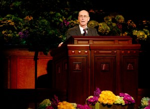 Elder Henry B. Eyring speaks at the Saturday morning session of the 183rd General Conference. (Photo by Sarah Hill)