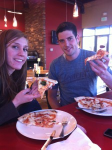 Russ Blacker and Ally Robison enjoy authentic Italian pizzas at Terra Mia. (Stacia Wahlgren)