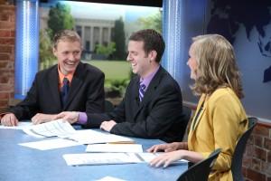 Caleb Cox, John Hanse and Lucy Tingey anchor BYU's award-winning ElevenNEWS. (Courtesy ElevenNEWS)