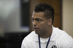 Linebacker Kyle Van Noy, 2013 All-American Candidate, talks with reporters about his last year for the Cougars. Photo by Elliott Miller