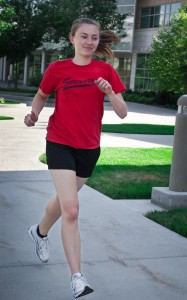 Sophomore Annie Tyler, nursing, prefers to run in cheaper non-brand athletic apparel.