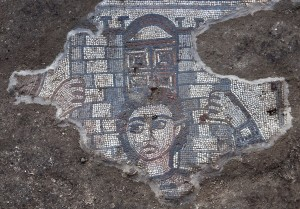 A mosaic depicts Samson carrying the gates of Gaza was discovered this summer at the Huqoq excavation.