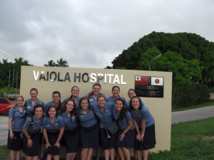 Left to right, top row: Emily Plowman, Rachel Jardine, Kiley Richmond, Jannette Perry, Angela Walter, Michelle Smith, April McMurray. Bottom row: Casey Bunker, Brittany Miller, Anna Jones, Sarah Falk, Courtney Davies, Erica LArson, Mallory Lutes. This is the hospital on Tongatapu where we did much of our clinical work. (Photo courtesy Debbie Edmunds)