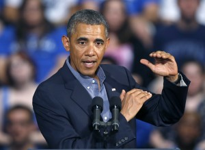 President Barack Obama gestures as he speaks at the University at Buffalo, the State University of New York, Thursday, Aug. 22, 2013 in Buffalo, N.Y., where he began his two day bus tour to speak about college financial aid. (AP Photo by Keith Srakocic)