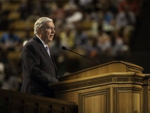 Elder Ballard speaks at the Education Week devotional. (Photo by Elliott Miller)