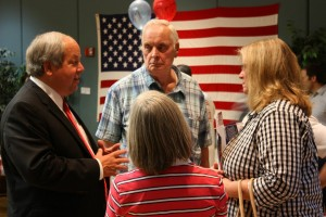 Richard Brunst answers residents' questions at the Orem Candidate Forum in July. (Photo courtesy Richard Brunst Campaign)