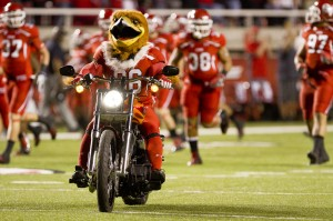 """Utah mascot """"Swoop"""" enters RIce Eccles Stadim last year during """"The Holy War."""" Photo by Sarah Hill."""