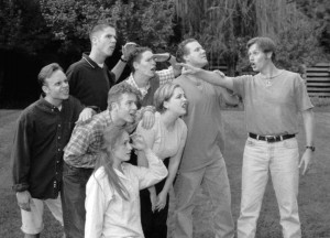 The Garren's Comedy Troupe, including now popular actor Lincoln Hoppe located on the far right, are considered the original BYU comedy troupe.