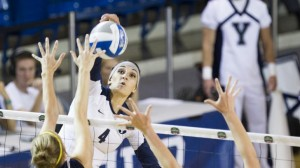 Kathryn LeCheminant goes up for a spike during a match against Montana Sate. Photo by Bella Torgerson, BYU Photo