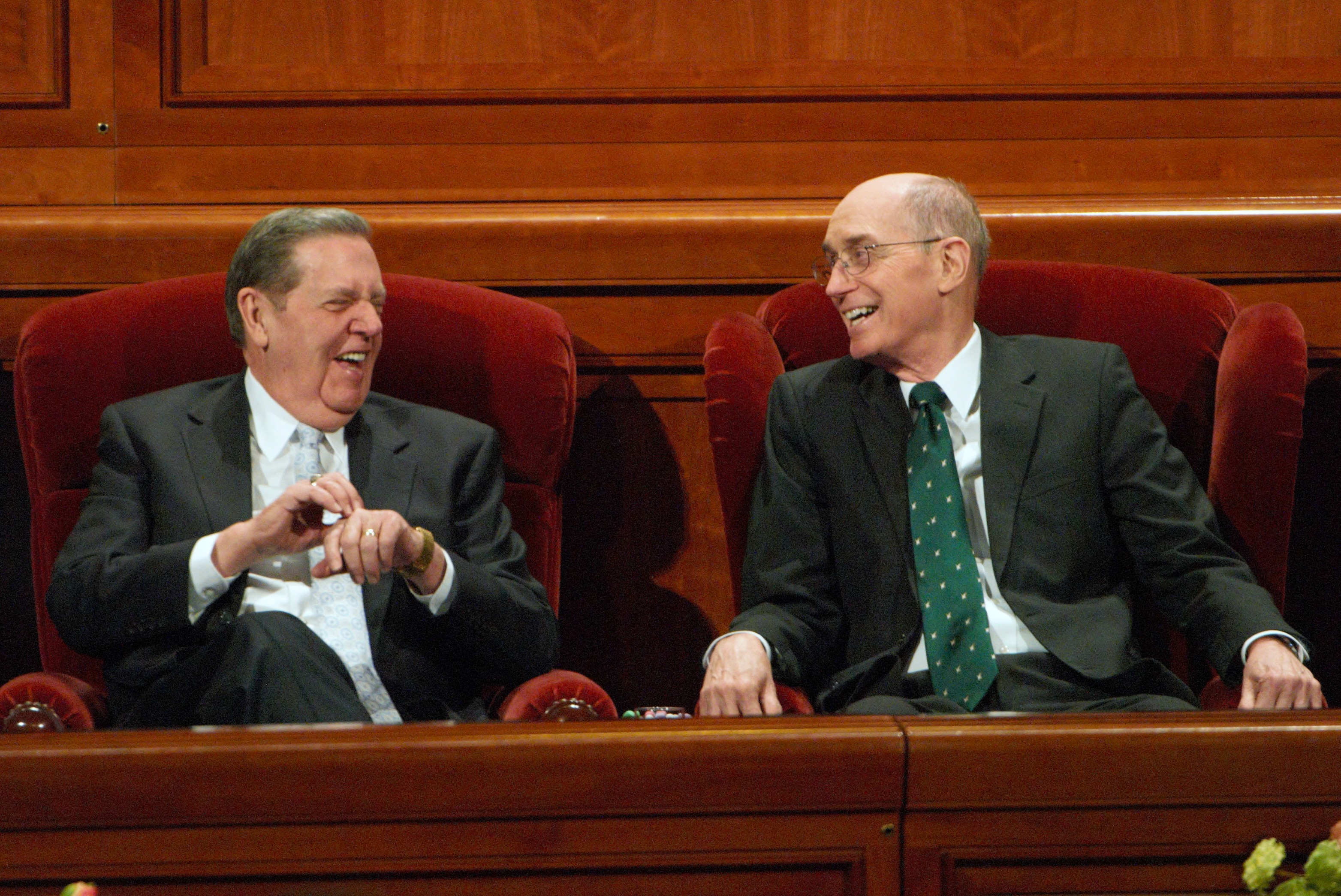 Elder Jeffery R. Holland of the Quorum of the Twelve and President Henry B. Eyring attended the 183rd Semiannual General Conference. Photo by Maddi Dayton.
