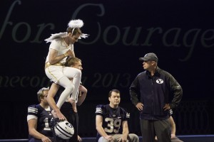 Bronco Mendenhall, joined by the crowd favorite shoulder angel, performed a skit written by Studio C at Tuesday's homecoming opening ceremonies.