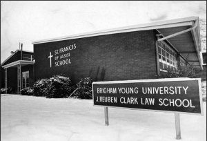 The St. Francis of Assisi catholic church and school was converted into the meeting place for the law school in 1973. Photo courtesy BYU law school