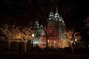 A shot of the famous Christmas lights at Temple Square. The bells on Temple Square help ring in the Christmas season. (Photo courtesy Mormon Newsroom)