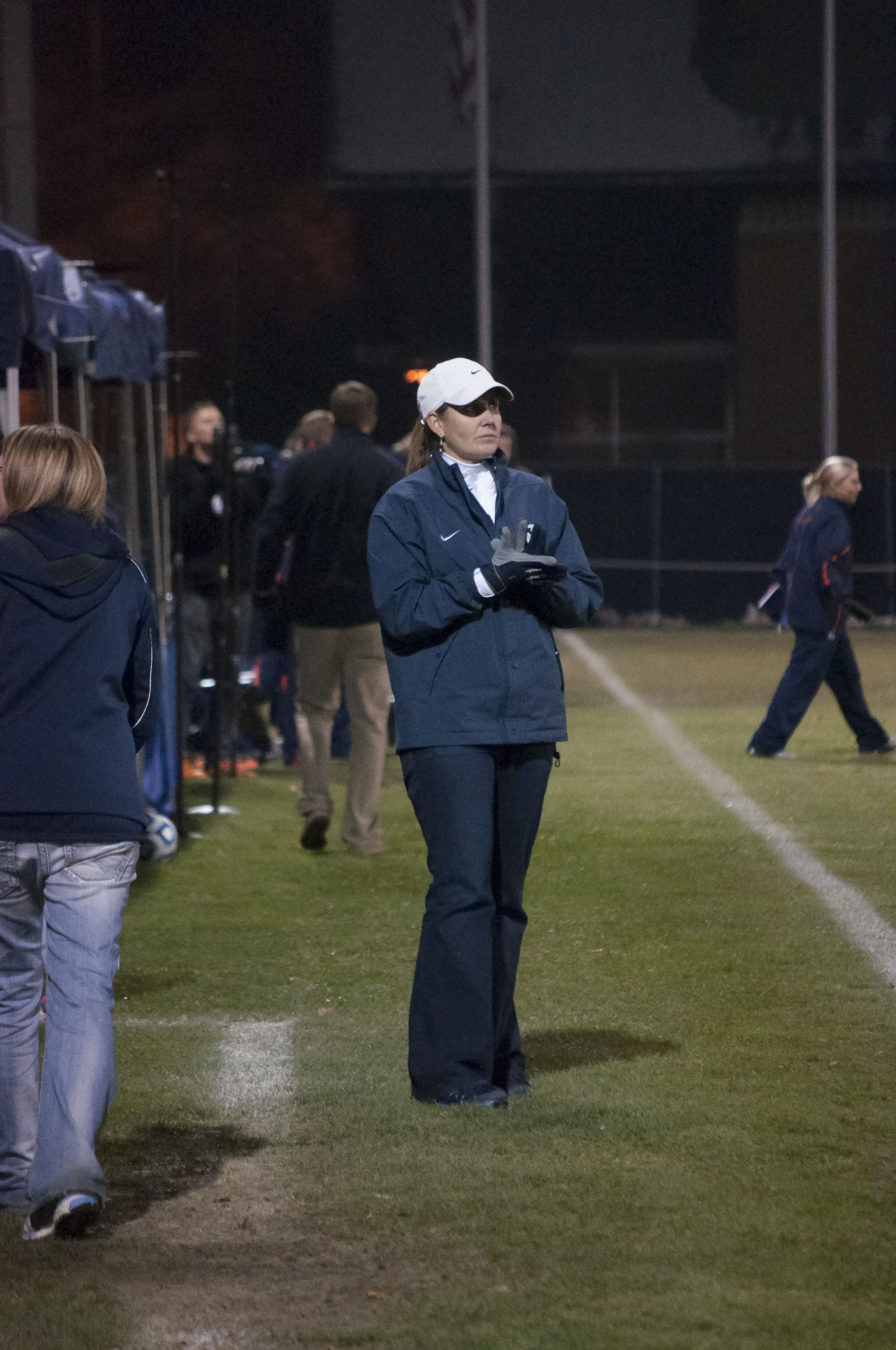 BYU women's soccer coach Jennifer Rockwood won her 300th game this season, in her 19th year of coaching the Cougars, including last year's trip to the Elite Eight of the NCAA Tournament. (Photo by Whitnie Soelberg)