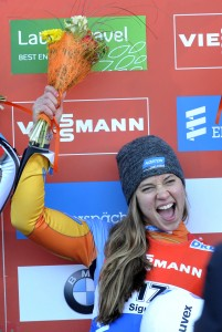 BYU's Kate Hansen reacts after winning the women's  race at the Luge World Cup event in Sigulda, Latvia. AP photo