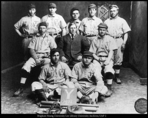 BY 1908, the baseball rivalry between BYU and Utah was already firmly entrenched. Photo courtesy of BYU Lee Library University Archives; UAP 2.