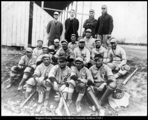 The BYU baseball team played its first game against Utah in 1895. This is the 1915 BYU squad. Photo courtesy of the BYU Lee Library University Archives; UAP 2.