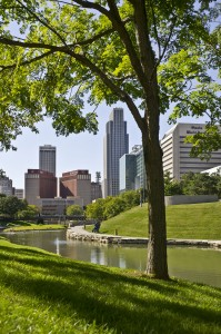 The Omaha, Neb. skyline. Nebraska is one of the best states for young people.