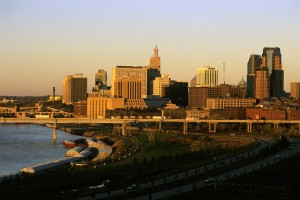 St Paul skyline and Mississippi River from Indian Mounds Park.