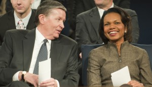 BYU President Cecil O. Samuelson speaks with former Secretary of State Condoleezza Rice in the Marriott Center. Photo by Luke Hansen