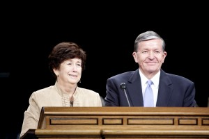 President and Sister Samuelson deliver the campus devotional.