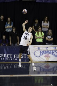 Senior Devin Young skies for a spike in a game earlier this season at the Smith Fieldhouse. Photo by Elliott Miller
