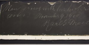The library Special Collections have preserved chalkboards with Karl G. Maeser's handwriting. Photo by Samantha Williams.
