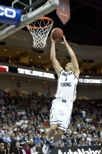 Kyle Collinsworth runs in for a layup in Saturday's WCC tournament quarterfinal game against LMU. Photo by Elliott Miller.