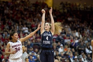Kim Beeston makes a jumper in Tuesday's WCC Championship game. Photo by Elliott Miller.