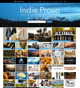 The website homepage of Indie Provo features local artists of all kind. It is easy access to upcoming shows and exhibits. It allows both artists and spectators to view the wide variety of talent Provo offers. (Photo courtesy of website creator Marshall Bean.)