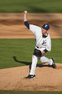 Desmond Poulson throws a pitch for BYU this season. Photo by Sarah Hill