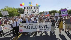 Members of the Mormons Building Bridges march during the Utah Gay Pride Parade in Salt Lake City. (AP Photo)