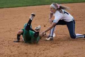 BYU infielder McKenzie St. Clair applies to a tag to a UVU runner May 6. Photo by Ari Davis