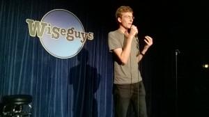 BYU Humor U comedian Drew Allen jokes about Provo's faster access to pornography through Google Fiber. (Photo by Donovan C Baltich)