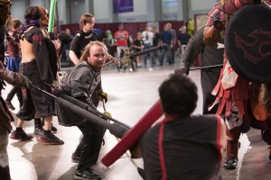 Live action role-players compete in the Battle Arena at FantasyCon. (Elliott Wood)