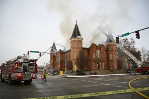 Firefighters attempt to control the blaze in the historic Provo Tabernacle Dec. 17, 2010. The cause of the fire, reported around 2 a.m., is a series of human errors. (Angela Decker)