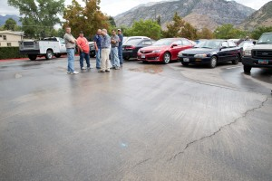 A repair crew from BYU estimates a half day to repair the water main. (Elliot Miller)