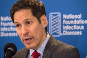 Dr. Thomas Frieden, Director of the Centers for Disease Control and Prevention speaks on the value of annual flu shots during a press conference at the National Press Club in Washington, Thursday, Sept. 18, 2014.   Influenza hospitalized a surprisingly high number of young and middle-aged adults last winter, and this time around the government wants more of them vaccinated. (AP Photo/J. David Ake)