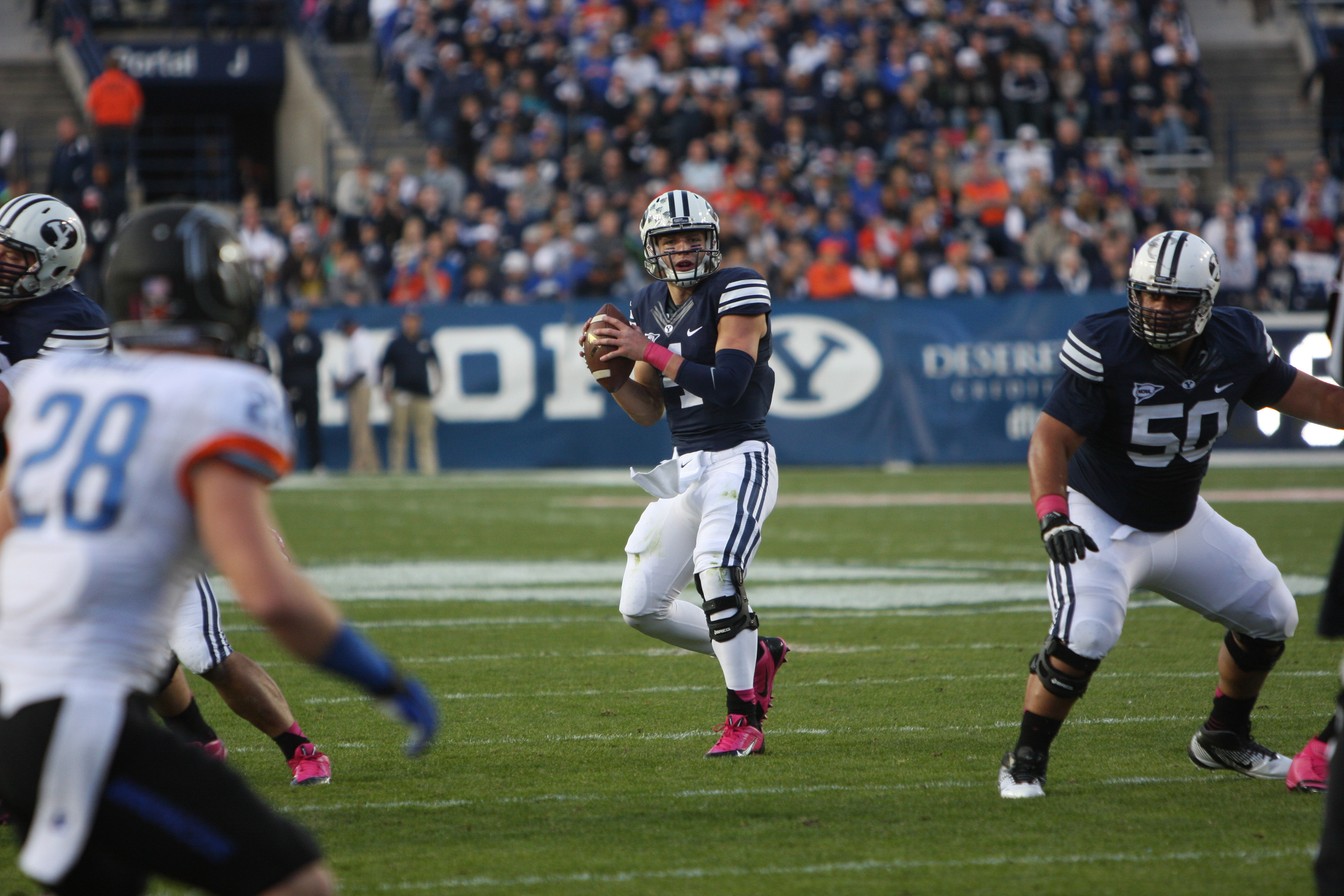 Taysom Hill looks down field for an open receiver against Boise State last season. The Cougars will travel to Boise to face the Broncos on Oct. 24. (Natalie Stoker)