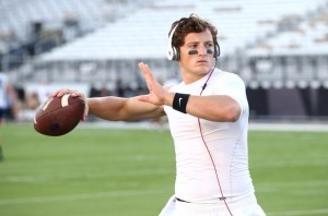 Senior quarterback Christian Stewart practices before the BYU football game against the University of Central Florida on Oct. 9. (BYU Photo)