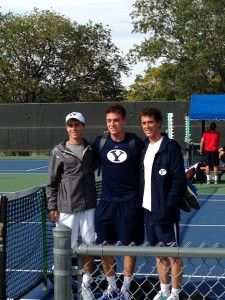 David Ball (left), Shane Monroe, and Francis Sargeant after the Utah Invitational in Oct 2014. (Jennifer Johnson)