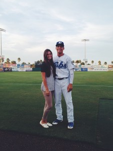Shayli Hannemann poses with her husband, Jacob in ________. Shayli and Jacob live apart during the school year while Shayli pursues a degree at BYU and Jacob chases his dreams of playing Major League Baseball. (Photo courtesy Shayli Hannemann)