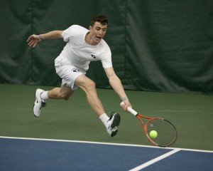 Francis Sargeant reaches for a forehand in a match against San Francisco in April 2014. (Universe Photo)
