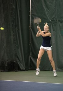 Mayci Jones competes against Denver as a freshman in February. (Universe Photo)