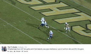 Game viewers took to twitter to criticize the lack of a pass interference call on UCF in the last play of the game.