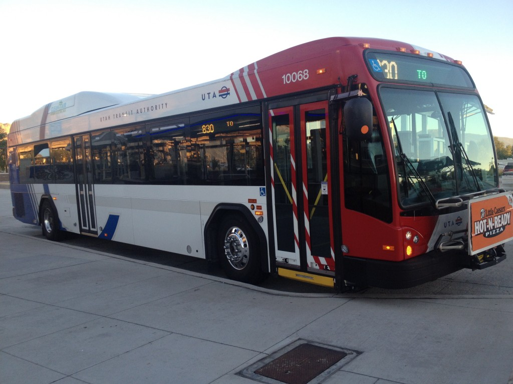 The Route 830 bus waits at the Provo Frontrunner Station. (Natalia Rogers)