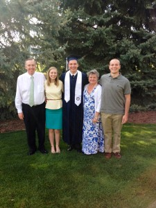 From left: Oslund at his 2014 graduation with (left) his father Dave, his wife Rachel, his mother Michelle, his brother Tommy. (photo courtesy Marc Oslund)